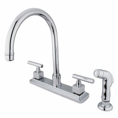 Tampa Double Handle Centerset Kitchen Faucet with Metal Lever Handles and Side Spray Finish: Polished Chrome