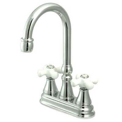 Madison Centerset Bar Faucet with Porcelain Cross Handles Finish: Polished Chrome