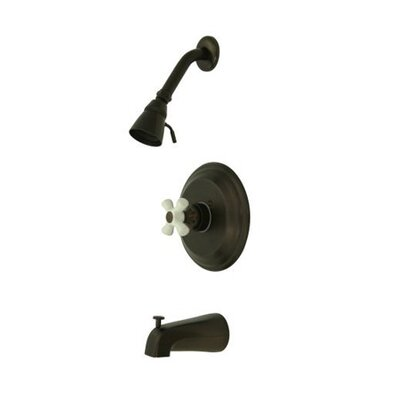 Vintage Thermostatic Pressure Balanced Tub and Shower Faucet with Porcelain Cross Handles Finish: Oil Rubbed Bronze