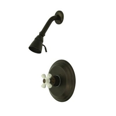 Vintage Pressure Balanced Shower Faucet with Porcelain Cross Handles Finish: Oil Rubbed Bronze