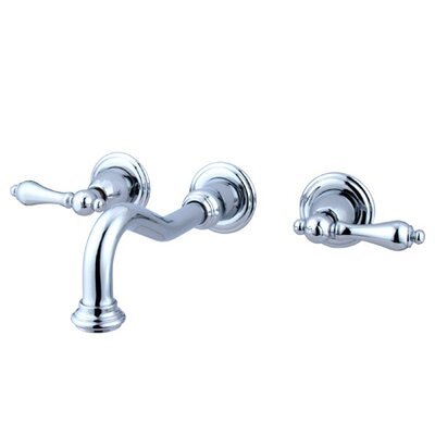 Vintage Wall mounted Double Handle Bathroom Faucet Finish: Polished Brass