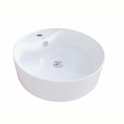Uno Ceramic Circular Vessel Bathroom Sink with Overflow