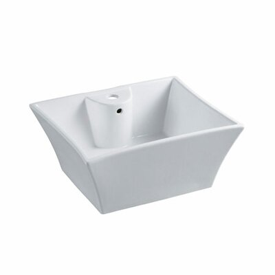 Forte Prime Ceramic Rectangular Vessel Bathroom Sink with Overflow Sink Finish: White