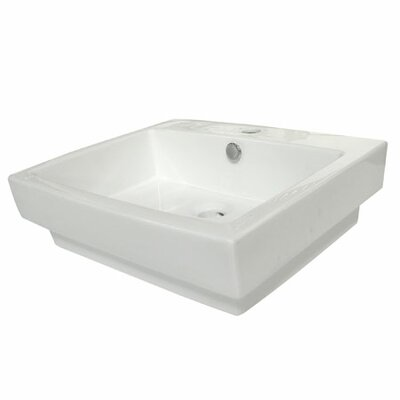 Plaza 24 Wall Mount Bathroom Sink with Overflow Sink Finish: White
