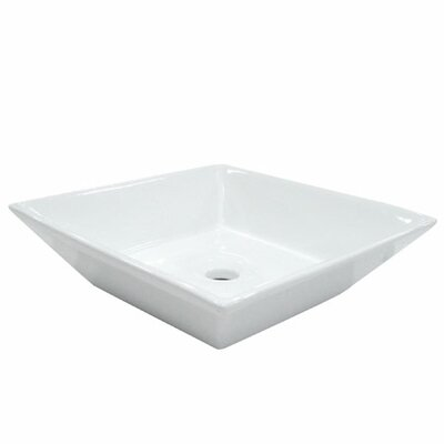 Artisan Ceramic Square Vessel Bathroom Sink Sink Finish: White