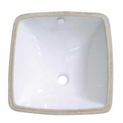 Vista Ceramic Square Undermount Bathroom Sink with Overflow Sink Finish: White