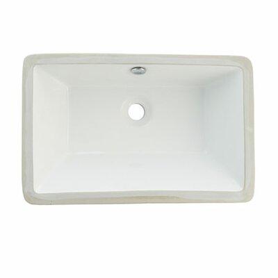 Castillo Ceramic Rectangular Undermount Bathroom Sink with Overflow Sink Finish: White