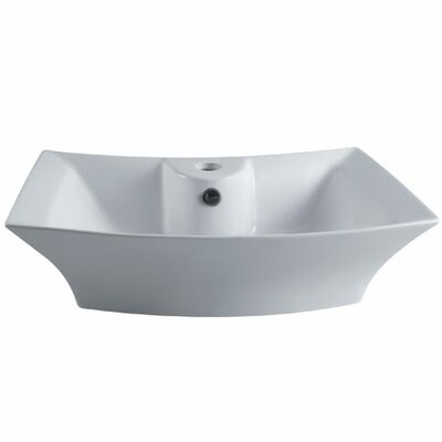 Courtyard Specialty Ceramic Specialty Vessel Bathroom Sink with Overflow