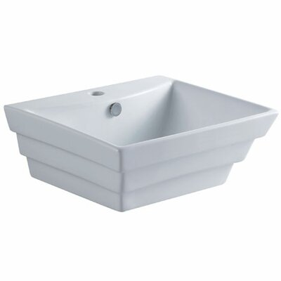 Tahoe Ceramic Rectangular Vessel Bathroom Sink with Overflow