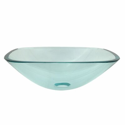Temper Glass Square Vessel Bathroom Sink Sink Finish: Clear
