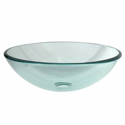 Temper Glass Circular Vessel Bathroom Sink Sink Finish: Clear