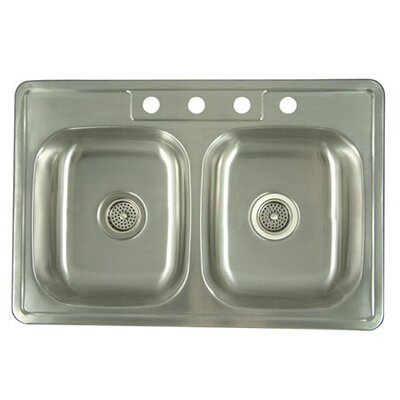 33.06 x 22 x 8 Carefree Double Bowl Kitchen Sink