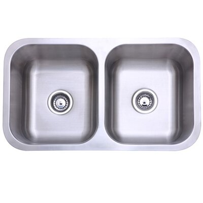 31.13 x 17.88 Undermount Double Bowl Kitchen Sink