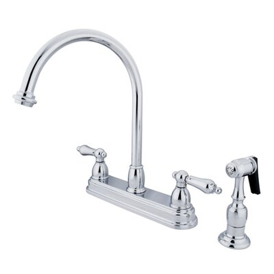Restoration Deck Mount Double Handle Centerset Kitchen Faucet with Metal Lever Handles Finish: Polished Chrome