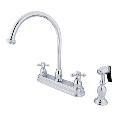 Restoration Deck Mount Double Handle Centerset Kitchen Faucet with Metal Cross Handles Finish: Polished Chrome