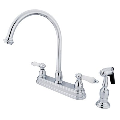 Restoration Deck Mount Double Handle Centerset Kitchen Faucet with Porcelain Lever Handles and Side Spray Finish: Polished Chrome