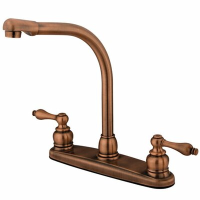 Victorian Double Handle Centerset High Arch Kitchen Faucet with Metal Lever Handles Finish: Vintage Brass