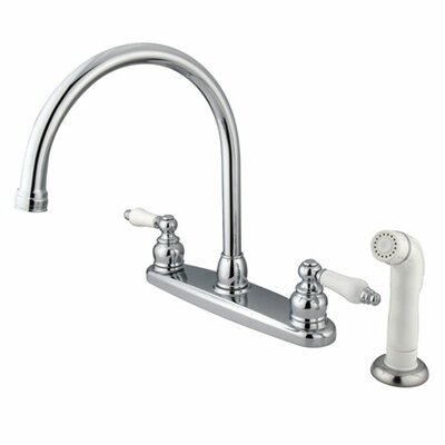 Victorian Double Handle Centerset Goose Neck Kitchen Faucet with Porcelain Lever Handles and White Side Spray Finish: Polished Chrome