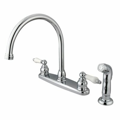 Victorian Double Handle Centerset Goose Neck Kitchen Faucet with Porcelain Lever Handles and Plastic Side Spray Finish: Polished Chrome
