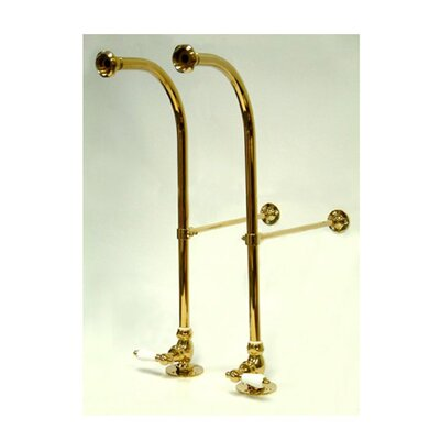 Vintage Freestanding Water Supply with Porcelain Handle Finish: Polished Brass