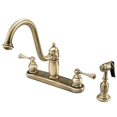 Heritage Double Handle Centerset Kitchen Faucet with Buckingham Lever Handles Finish: Vintage Brass