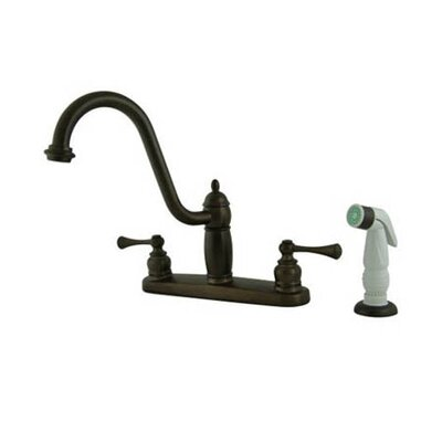 Heritage Double Handle Centerset Kitchen Faucet with Side Spray Finish: Oil Rubbed Bronze