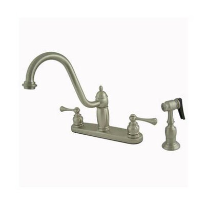 Heritage Double Handle Centerset Kitchen Faucet with Buckingham Lever Handles Finish: Satin Nickel
