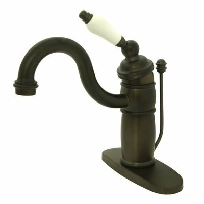 Single Hole Bathroom Faucet with Single Porcelain Handle Finish: Oil Rubbed Bronze