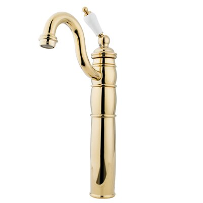 Single Hole Vessel Sink Faucet with Single Porcelain Lever Handle Finish: Polished Brass