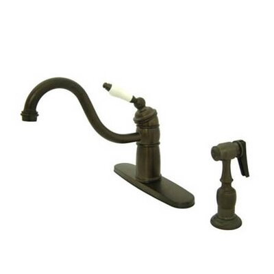 Heritage Singe Handle Centerset Kitchen Faucet with Porcelain Lever Handles Finish: Oil Rubbed Bronze