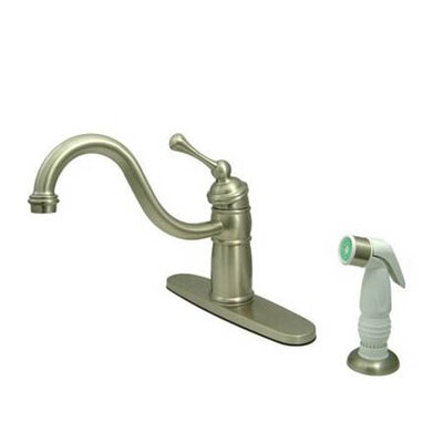 New Orleans Deck Mount Single Handle Centerset Kitchen Faucet Finish: Satin Nickel