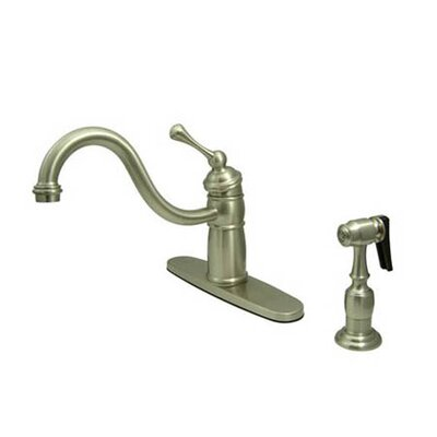 Heritage Singe Handle Centerset Kitchen Faucet with Buckingham Lever Handle and Side Spray Finish: Satin Nickel
