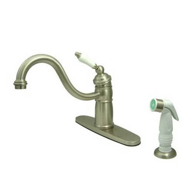 New Orleans Deck Mount Single Handle Centerset Kitchen Faucet with Porcelain Lever Handles Finish: Satin Nickel