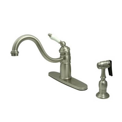 Heritage Singe Handle Centerset Kitchen Faucet with Porcelain Lever Handles Finish: Satin Nickel