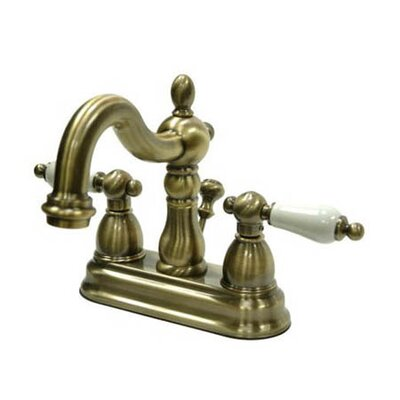 Heritage Centerset Bathroom Faucet with Double Porcelain Lever Handles Finish: Vintage Brass
