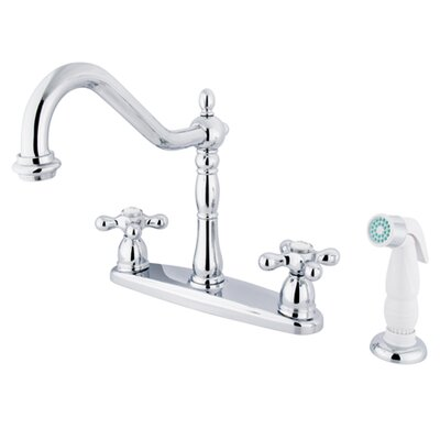 New Orleans Double Handle Kitchen Faucet with Side Spray Finish: Chrome