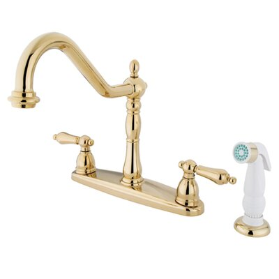 New Orleans Double Handle Centerset Kitchen Faucet with Porcelain Lever Handles and Brass Sprayer Finish: Polished Brass