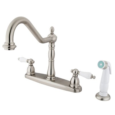 Heritage Double Handle Centerset Kitchen Faucet with Porcelain Lever Handles Finish: Satin Nickel