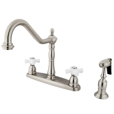Heritage Double Handle Centerset Kitchen Faucet with Metal Cross Handles and Side Spray Finish: Satin Nickel