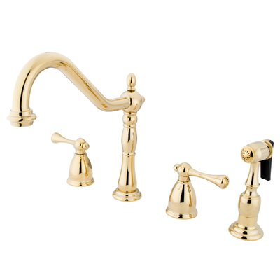 Heritage Double Handle Widespread Kitchen Faucet with Buckingham Lever Handles Finish: Polished Brass