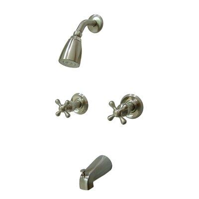 Magellan Diverter Tub Shower Faucet with Metal Cross Handles Finish: Satin Nickel