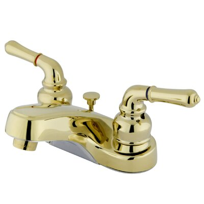 Centerset Double Handle Bathroom Faucet with Drain Assembly Optional Accessories: With Plastic Pop Up Drain, Finish: Polished Brass