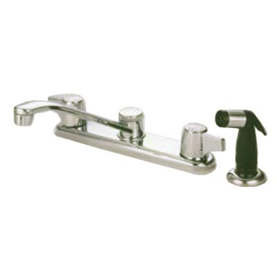 Double Handle Centerset Kitchen Faucet with Franklin Canopy Handles Finish: Chrome, Side Spray: With Side Spray