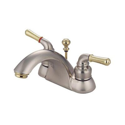 St. Charles Centerset Double Handle Bathroom Faucet with Drain Assembly Finish: Satin Nickel/Polished Brass