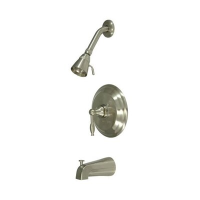 Volume Control Tub and Shower Faucet with Knight Lever Handles Finish: Satin Nickel
