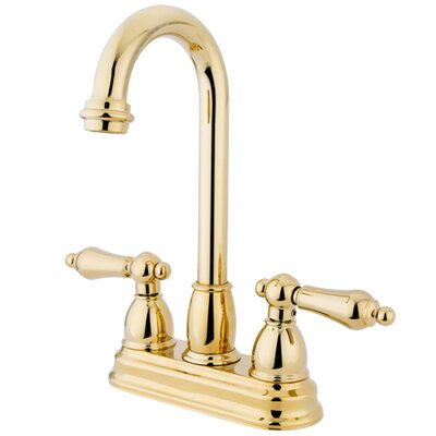 Double Handle Centerset Bar Faucet with Metal Lever Handles Finish: Polished Brass