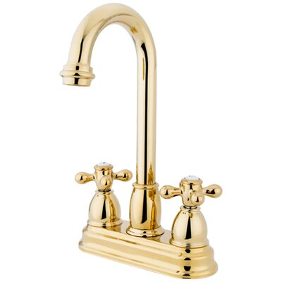 Double Handle Centerset Bar Faucet with Metal Cross Handles Finish: Polished Brass