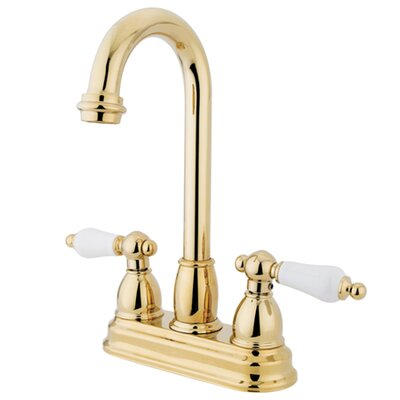 Double Handle Centerset Bar Faucet with Porcelain Lever Handles Finish: Polished Brass
