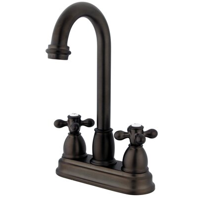 Double Handle Centerset Bar Faucet with Metal Cross Handles Finish: Oil Rubbed Bronze