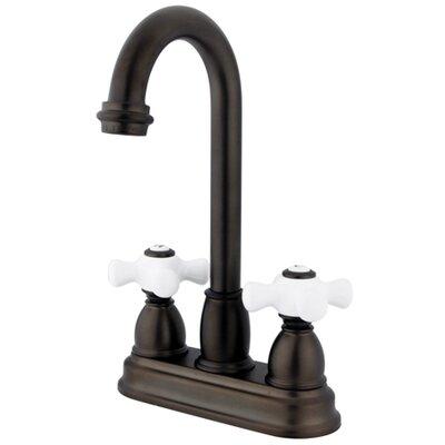 Porcelain Cross Double Handle Kitchen Faucet Finish: Oil Rubbed Bronze